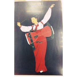 Доска лакированная с танцующей девушкой, Китай 363