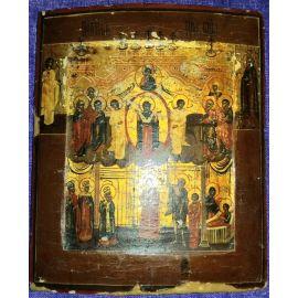 """Икона деревянная """"Покров"""" многочисленные святые 324"""