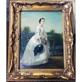 """Картина """"Дама в белом платье с букетом цветов"""" 364"""