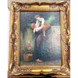 "Картина ""Дама с ребенком, забор"" 19 век, живопись 365"