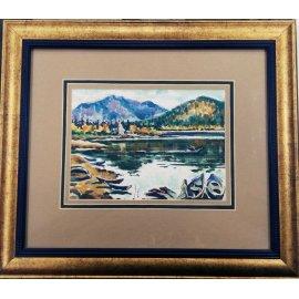 "Картина ""Река, горы, лодки"" автор Суханов Александ 357"