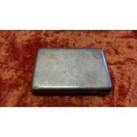 Портсигар с гравировкой Дом в круге, сереб.,178гр 259