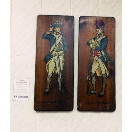 2 доски с изображением солдат 1776г дерево 35